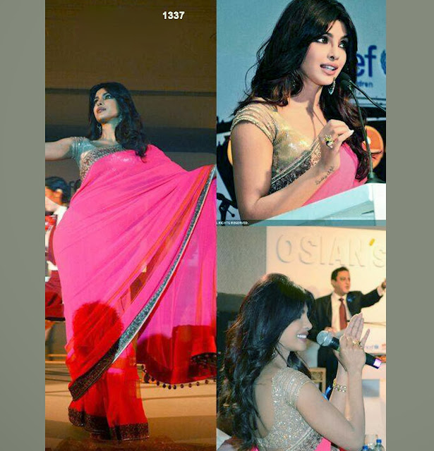 Priyanka Saree,Priyanka Chopra Pink Saree At Osian's Awards