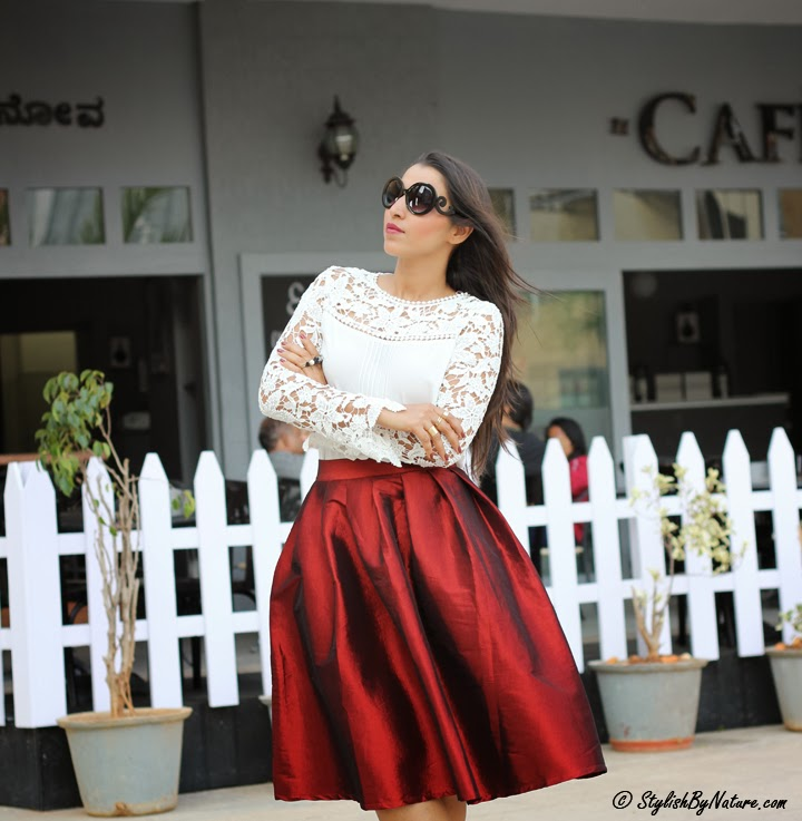 vintage crimson Full Skirt