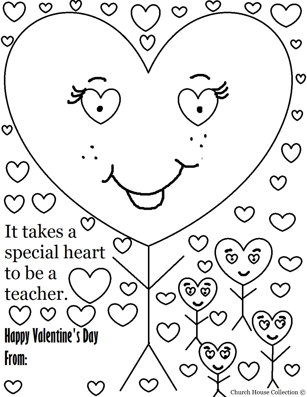 teacher valentine coloring pages - photo#1