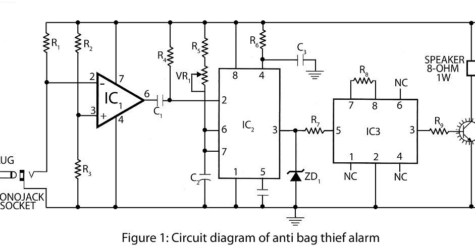 anti bag snatching alarm circuit diagram