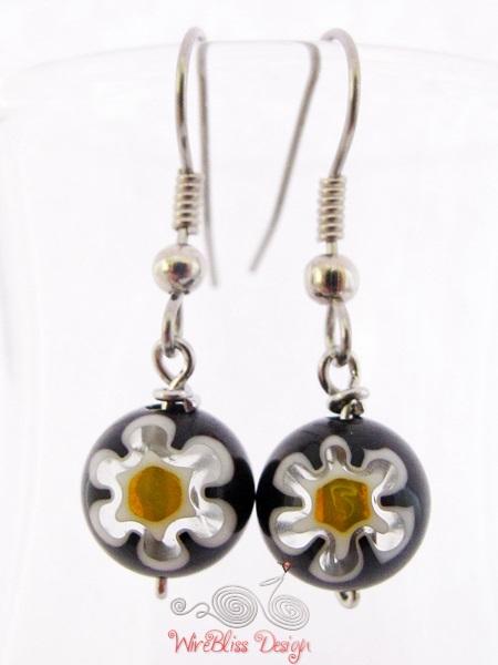 Large glass dangle earrings by WireBliss - millefiori glass beads