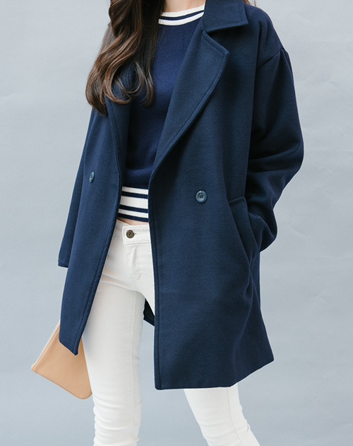 Woolen Double-Breasted Coat