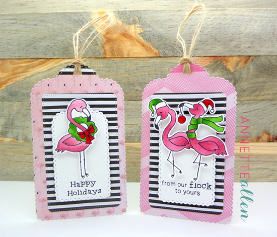 Pink Flamingo Christmas Tags by Annette Allen | Flirty Flamingos stamp set by Newton's Nook Designs #newtonsnook #flamingo
