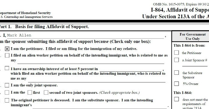 Americans Are Us Completed Sample Uscis Form I 864 Affidavit Of Support