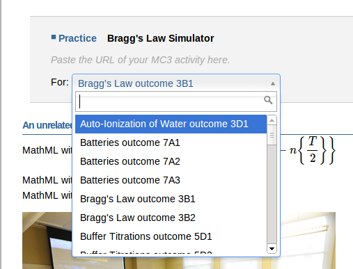 "Shows a drop down ""Bragg's Law Outcom 3B1"" is chosen from amoung a set of options."