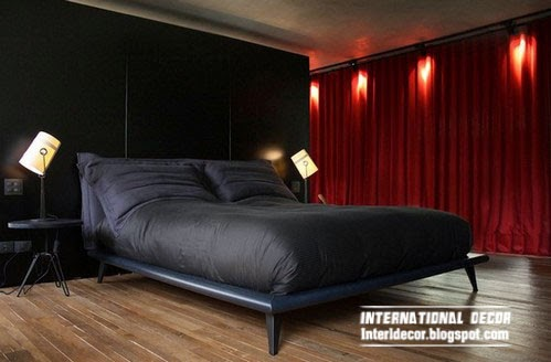 red curtains for black bedroom interior design
