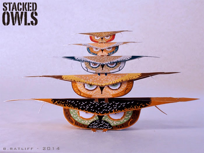 Stacked Owls Paper Toy