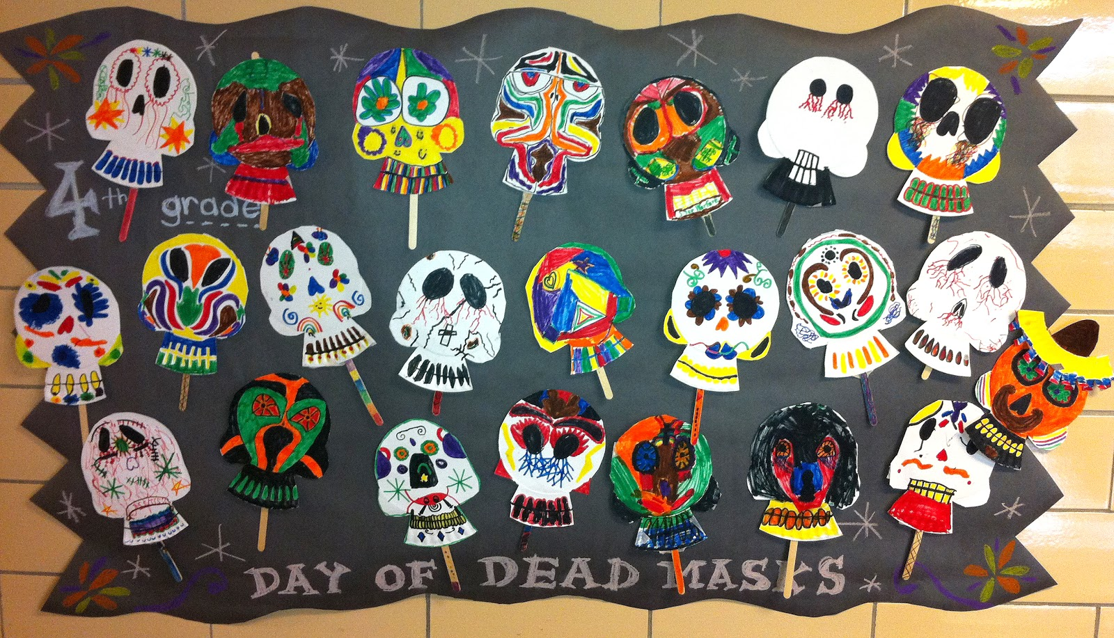 The 4th grade class celebrated the Mexican tradition of \ The Day of the Dead\  by making decorated skull mask from paper plates.  & Sacred Heart art room: Mexican skulls