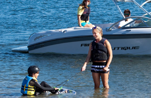 Learning to wakeboard at The Watersports Camp