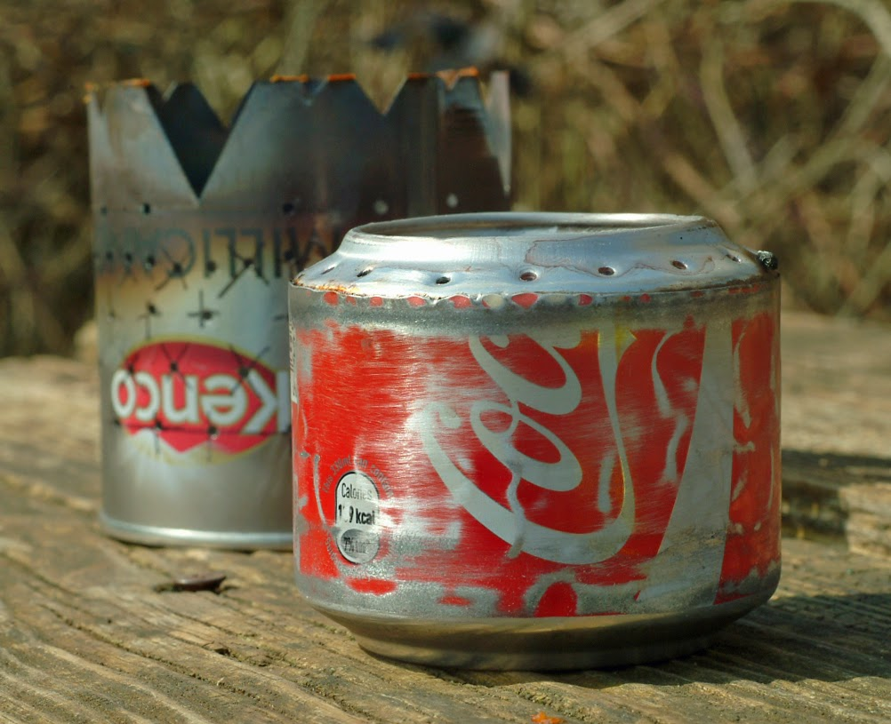 The hobo coke can stove an improvised spoon and a curry for Coke can heater