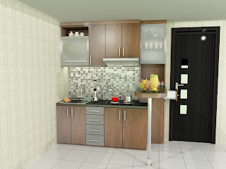 kitchen set, kitchen set single line, finishing hpl, kitchen set modern, kitchen set apartemen