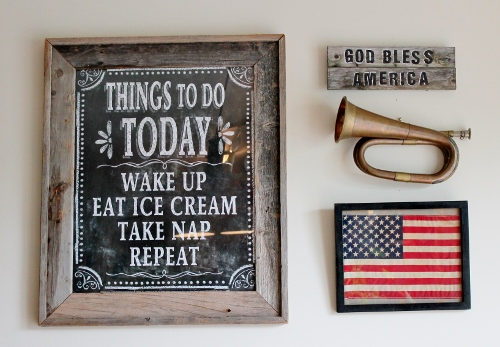 Adirondack Girl- Patriotic Gallery Wall- Chalk Board- American Flag-Treasure Hunt Thursday- From My Front Porch To Yours