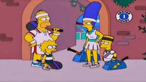 hOMERO Y marge juegan tenis,Juego Limpio, Serena Williams y Marcia Wallace en los simpsons