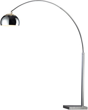 Dimond D1428 Haute Couture 1 Light Penbrook Arc Lamp Silver Plated & White Marble