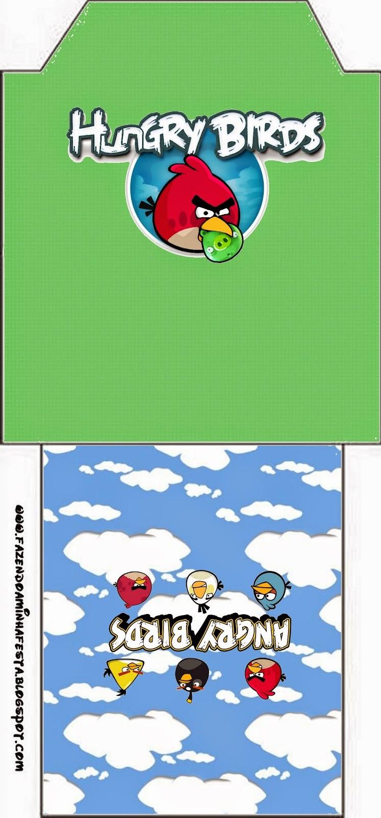 Etiqueta para el Té de Angry birds con Nubes.