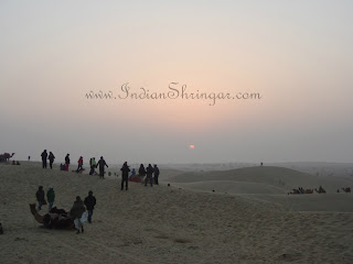 Sunset over the sand dunes at Jaisalmer desert