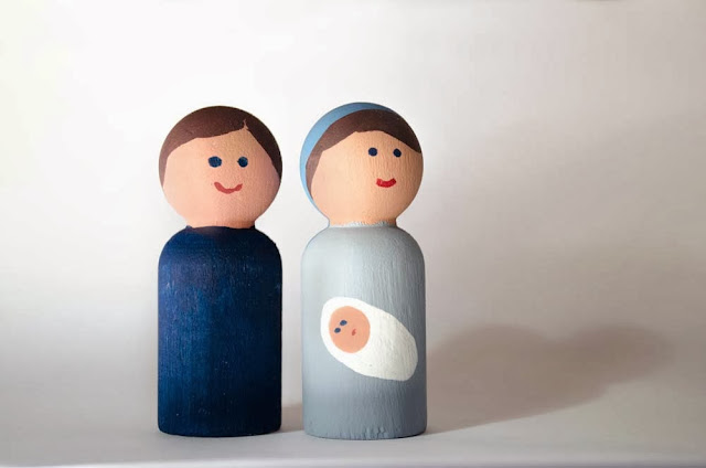 Wooden Peg People Nativity Set—Mary and Joseph