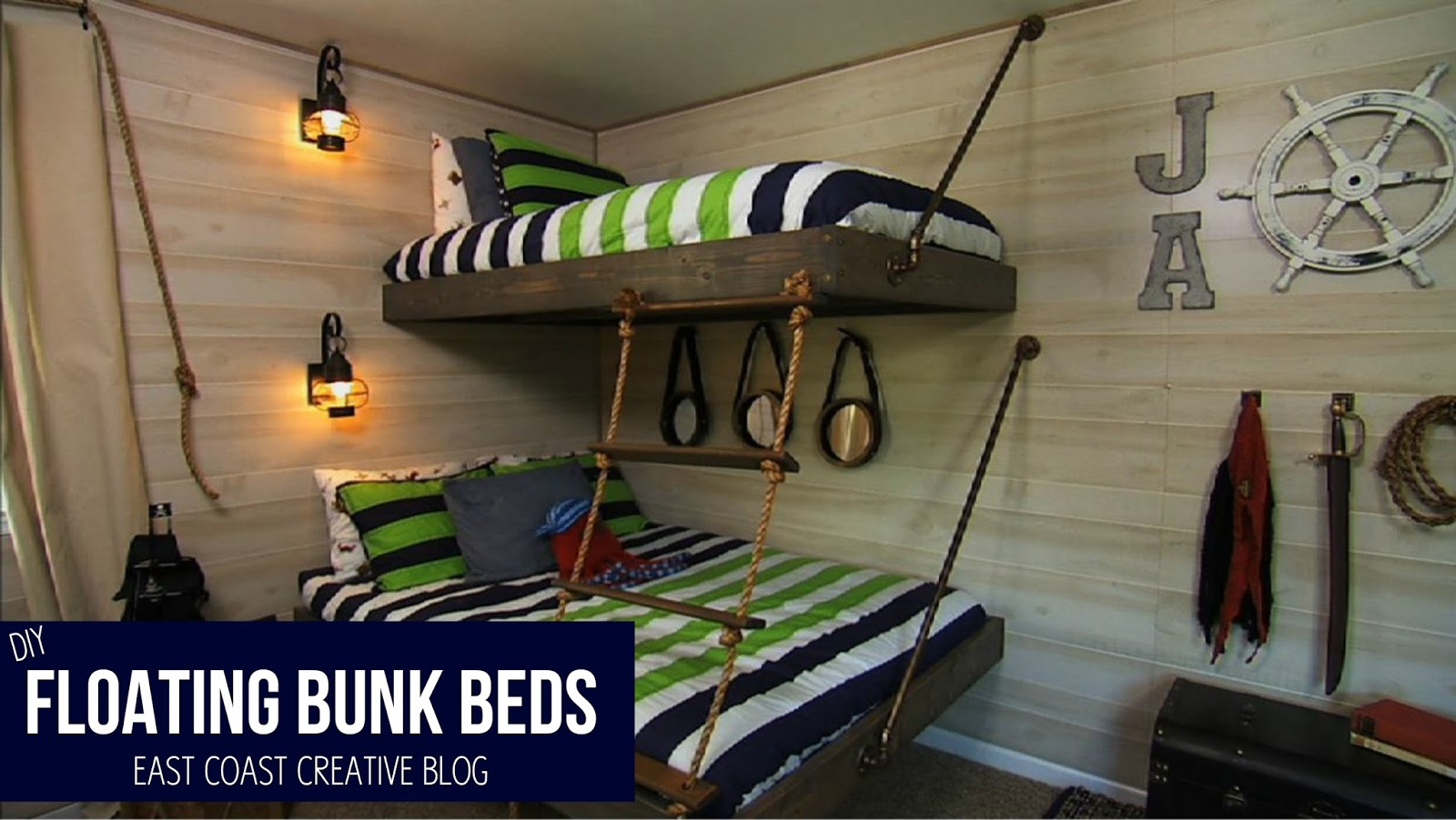 Bunk beds with slide and rope - Floating Bunk Beds Tutorial Knock It Off Diy Project