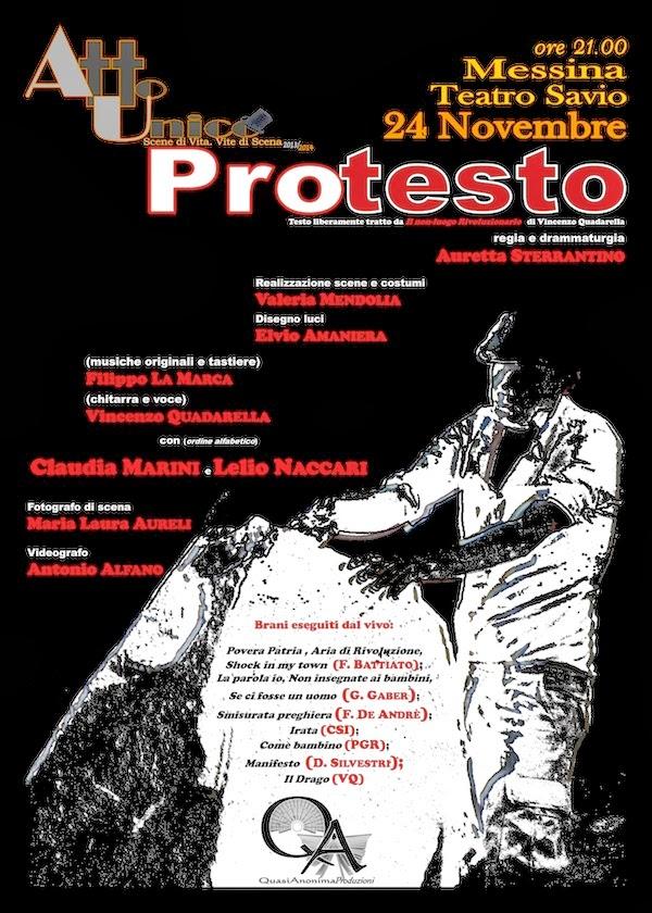 "AL TEATRO SAVIO DI MESSINA LA PIECE TEATRALE ""PROTESTO"""