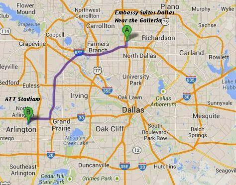 Embassy Suites Dallas Near the Galleria is 25 miles/30 minutes from ATT Stadium