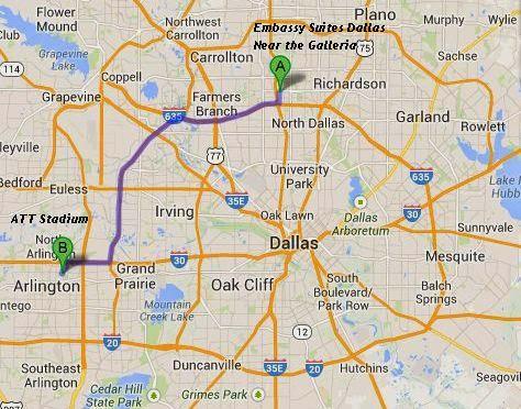 Embassy Suites Dallas Near the Galleria is 25 miles/30 minutes from ATT Stadium
