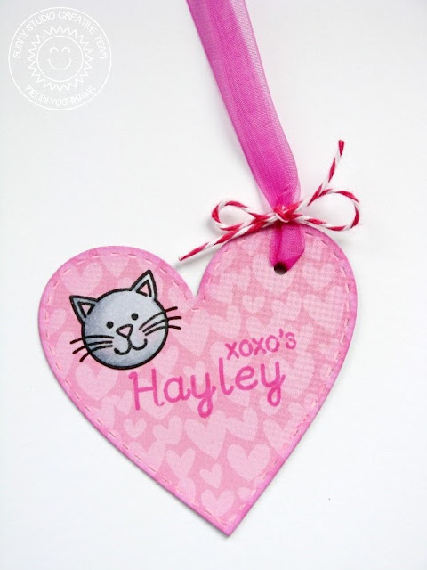 Sunny Studio Stamps Valentine's Day Heart Gift Tag (using Stitched Heart Dies, Sweet Script & Sending My Love Stamps)