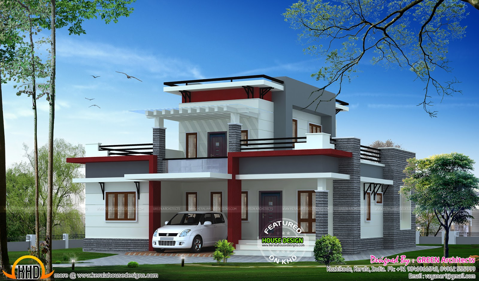 Small flat roof house kerala home design and floor plans Small flat roof house