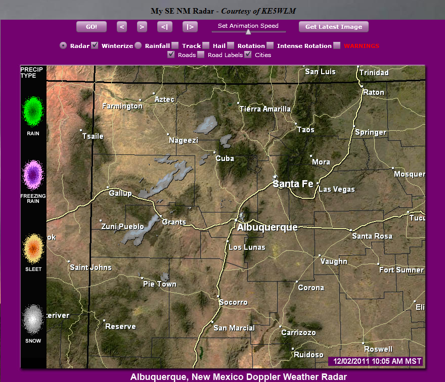 Weather Map Of New Mexico.Snow Starting To Show Up On New Mexico Radars