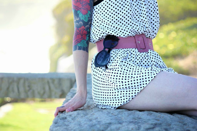 white and black polka dot summer romper and pink belt detail - wish list/ catherine masi [photo by myriah bujak]