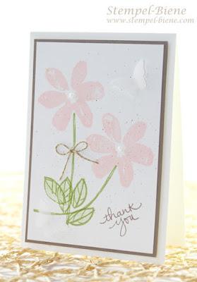 Stampin Up Garden in Bloom, Stampin Up Dankeskarte, Anfängerkarte, Stempelpartyprojekt, Stempel-biene, Stampin Up Sonderangebote, Stampin Up bestellen