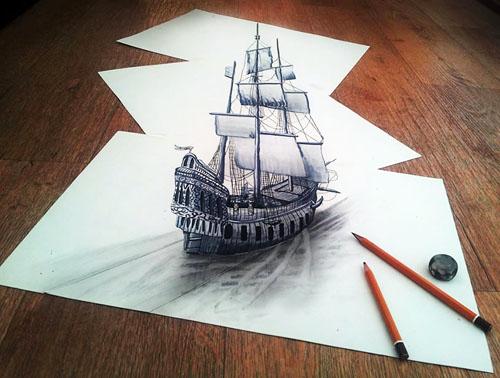 三枚の紙の上に描いた3Dの船のように見えるが、実際には平らな紙の3枚に錯覚を描いている。