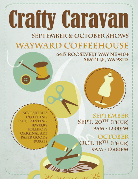 Crafty Caravan will be at Wayward Coffeehouse, Sept 20 and Oct 18, 9 am - 12 pm