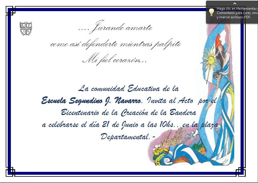Tarjetas De Invitacin Para Acto Dia De La Bandera Argentina