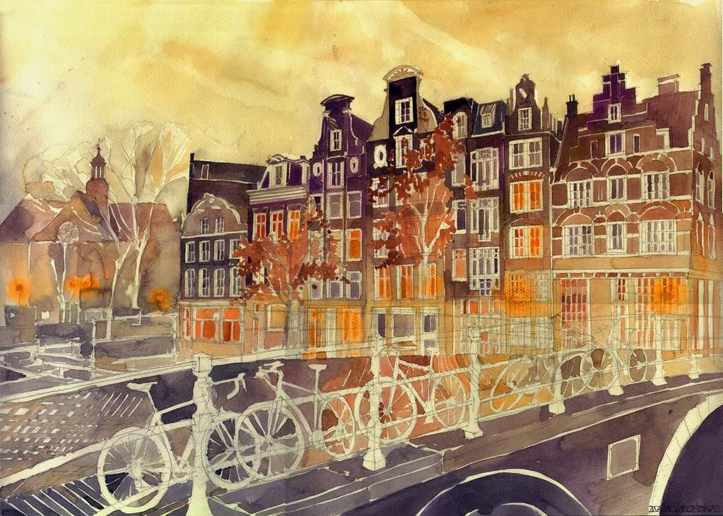 09-Evening-in-Amsterdam-Maja-Wronska-Travels-Architecture-Paintings-www-designstack-co