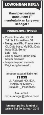 Lowongan PT MSM