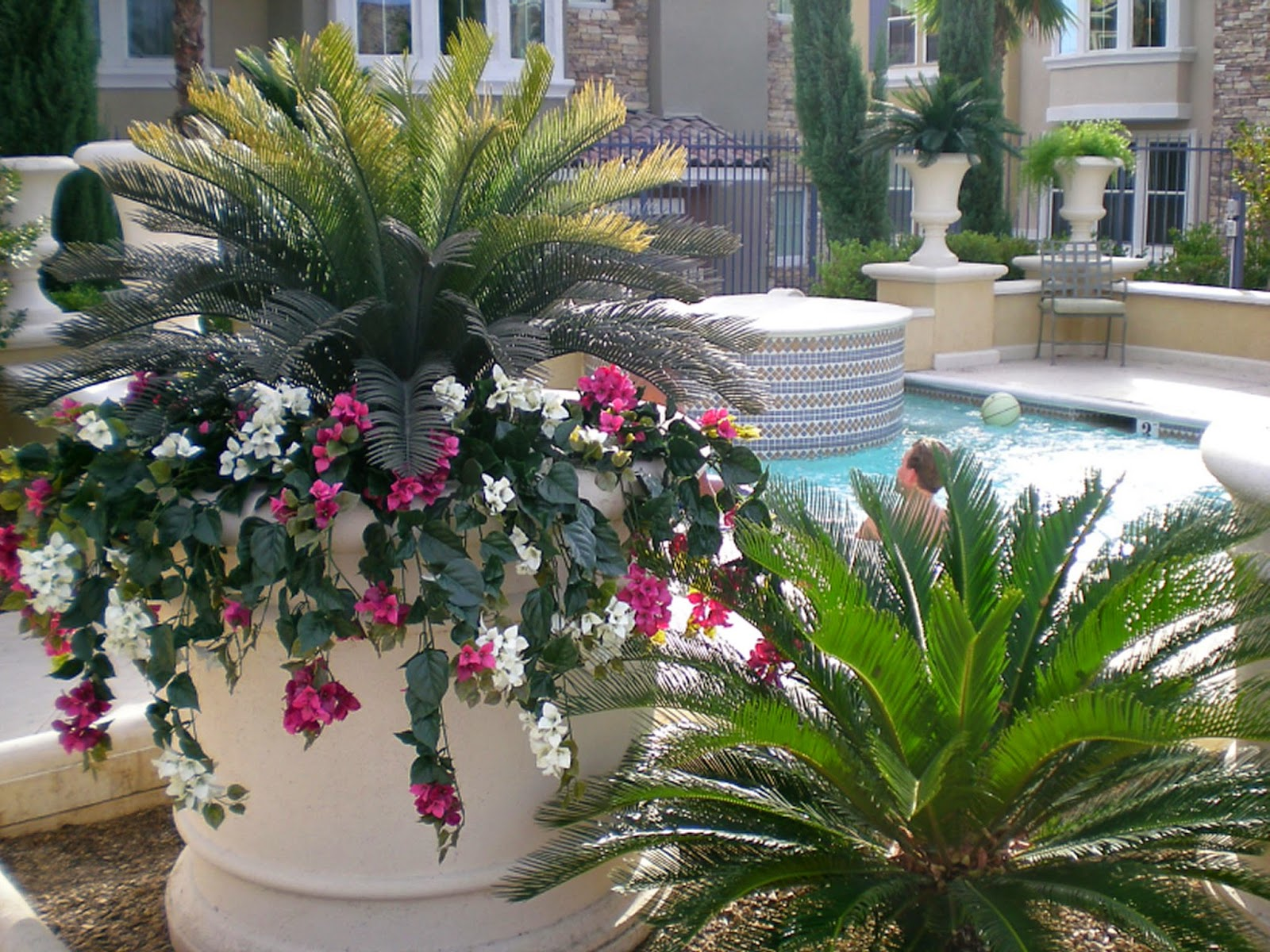 Image gallery outdoor artificial flowers for Exterior plants landscaping