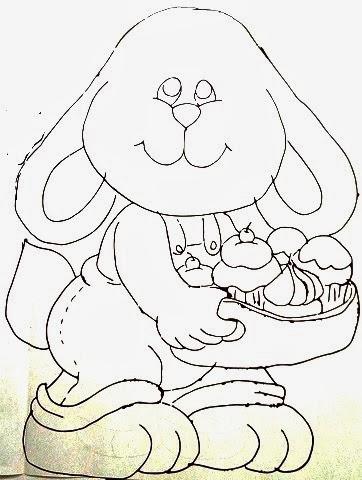 desenho de coelhinho com cupcakes para pintar