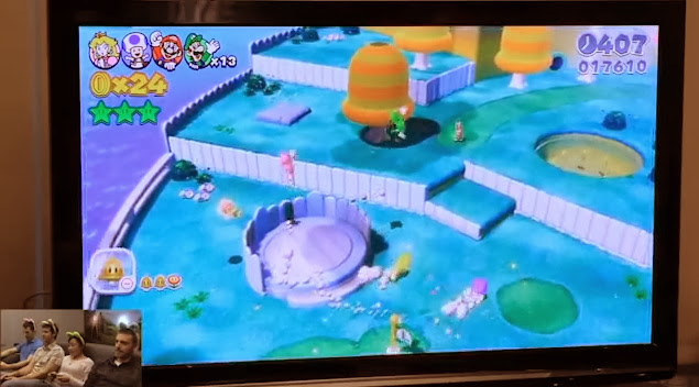 Image of four Nintendo employees playing Super Mario 3D World
