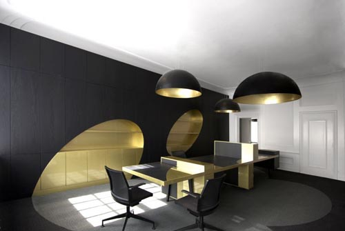 Exclusive Black Gold Interior Office Design