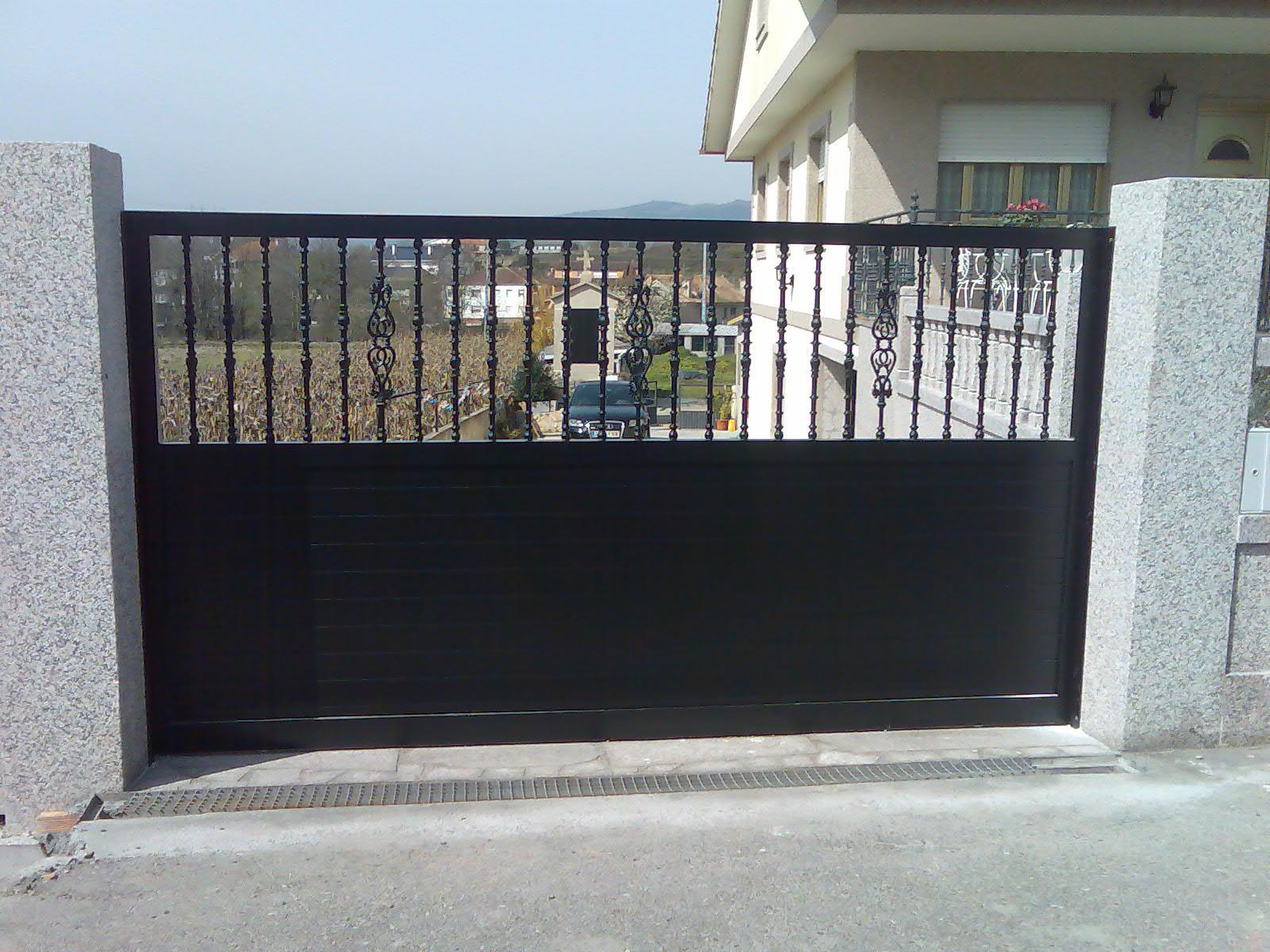 Portal negro de aluminio corredera aluminio - Portal de corredera ...