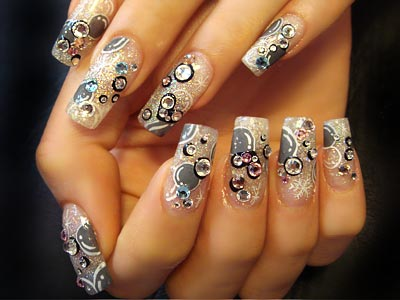 Clear Accented Nails with Grey Bubbles and Clear Stones