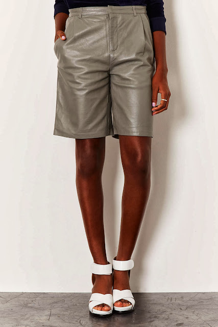 grey leather shorts