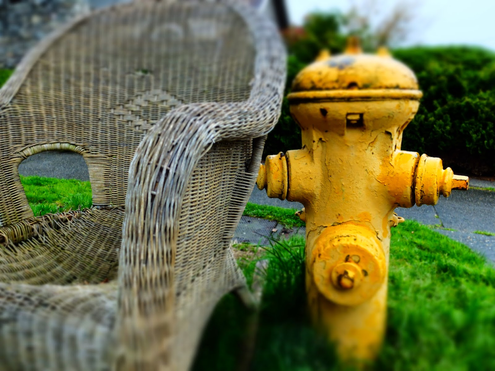 Wicker Rocker - Yellow Fire Hydrant