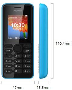 Dimensi Nokia 108