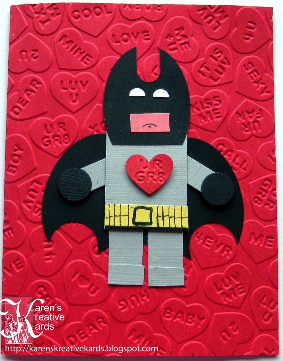 My Grandson Loves Legos And Super Heroes So When I Saw This Punch Art Card  Here, I Knew I Wanted To Try To Make The Lego Batman For His Valentine.