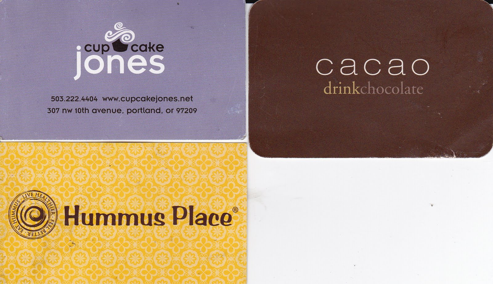 My Life Scanned: Some Business Cards (Cupcake Jones, Cacao, Hummus ...
