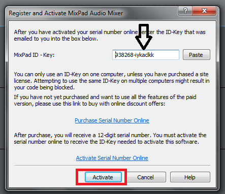 mixpad audio mixer activation code