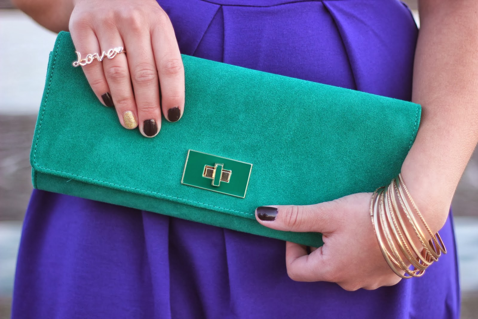 Love Banana Republic Emerald Suede Clutch