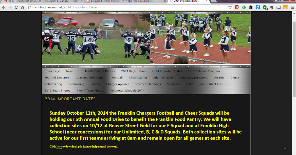 Franklin matters franklin chargers 5th annual food drive for Food pantry near me open on sunday