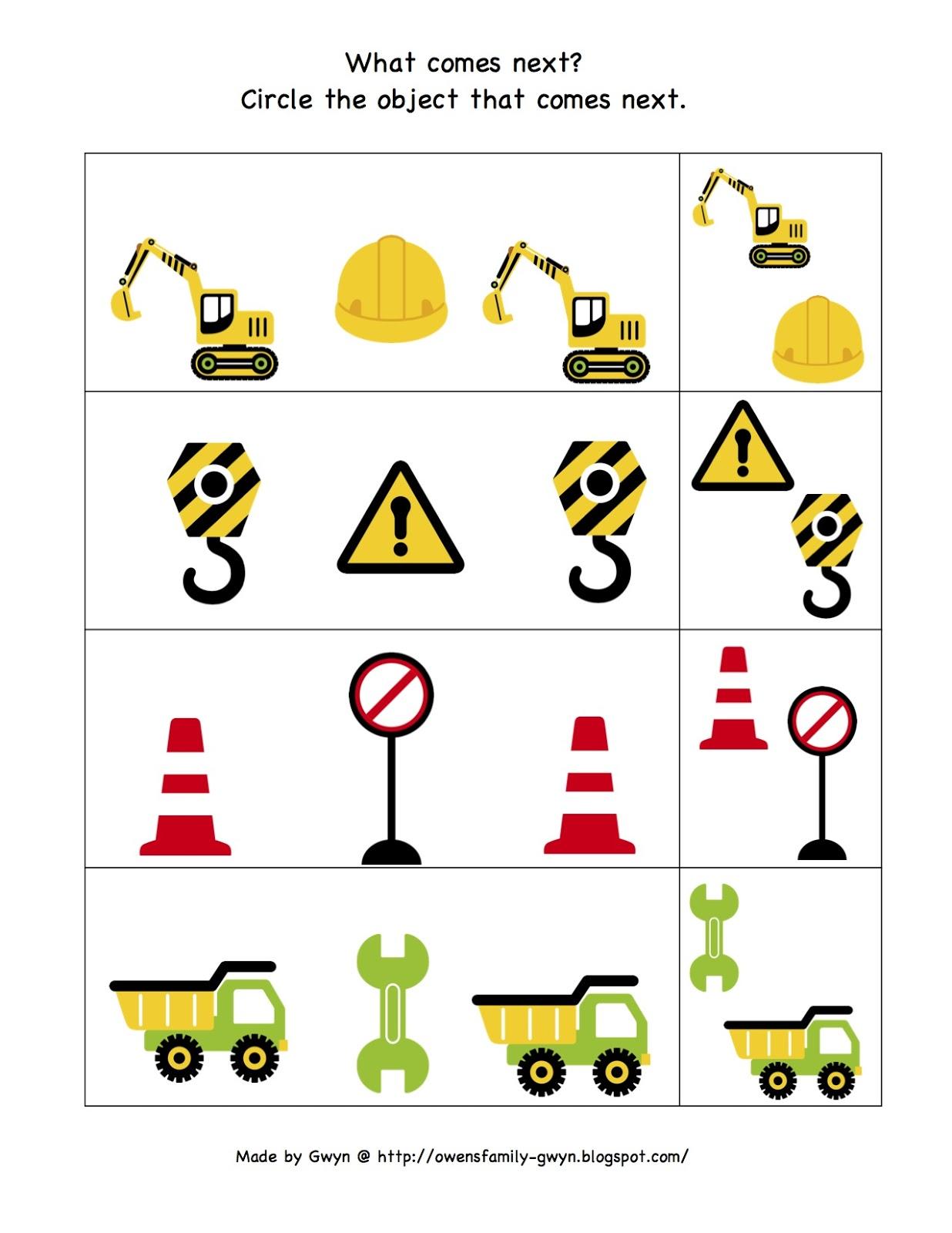 Construction Zone Printable ~ Preschool Printables